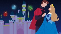 We've got another Disney Doodle today featuring Disney couples at the Disneyland Resort. Artist Ashley Taylor imagines a romantic moment between Princess Aurora and Prince Phillip in front of Sleeping Beauty Castle at Disneyland park.