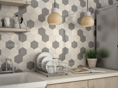 HEXAGON de 12,4x10,7 cm para crear impactantes composiciones de mosaicos. #alhambra, #arabesque, #fan, #hexagon, #geometric tile, #geometry, #modern, #interior, #pastel colours, #basic colours, #forms, #shape, #house, #modern, #interior design, #interior designer, #kitchen, #kitchen tile, #bath, #bathroom tile, #scale, #ceramic tile, #white body,