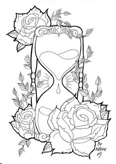 Hour glass and roses tattoo