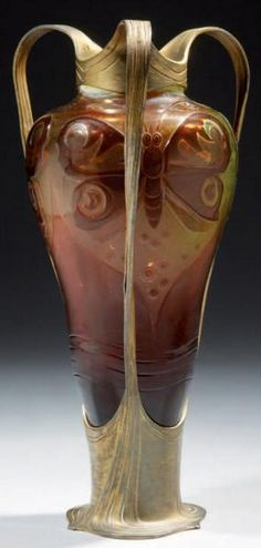 Art Nouveau cameo glass vase with metal mount by Orivit, signed, H: 26.5 cm