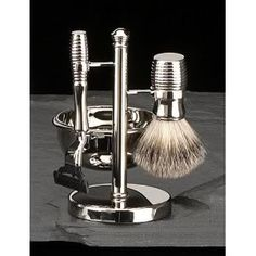 Four Piece #ShavingSet with 'Mach 3' Razor, Badger Brush, Soap Dish On a Stand makes a great #GiftforDad for #FathersDay! Pin now and read later: http://prettyyoungerskin.com/10-cool-skin-care-gifts-for-dad/
