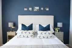 INTERIOR DESIGN PROJECT: Modern Coastal Guestroom – Home Envy Painted Bedside Tables, Warwick Fabrics, Bird Statues, Rustic Frames, Modern Coastal, Wooden Pegs, Cyprus, Guest Room, Envy