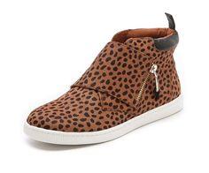 Rebecca Minkoff / Deacon Haircalf Zip Sneakers #shoes #zapatos #animalprint