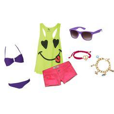 Everything I love about summer: bandos, bright shorts, tanks, and ray bans!