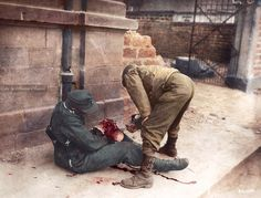 U.S. medic helping a wounded German soldier.