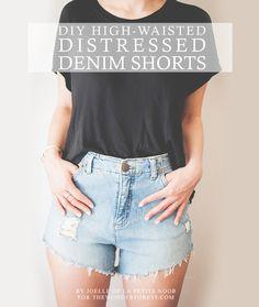 DIY High Waisted Distressed Denim Shorts - - Wonder Forest -