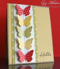 nice CAS LO great way to use butterfly dies/punches. stampin-up-cards Cute Cards, Diy Cards, Your Cards, Butterfly Cards, Paper Butterflies, Butterfly Wedding, Beautiful Butterflies, Paper Cards, Creative Cards