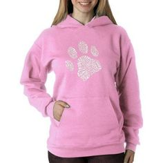 Los Angeles Pop Art Women's Dog Paw Hoodie, Size: XL, Pink