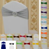 Spandex Stretch 50 Wedding Chair Cover Band Sashes With Buckle Bow Slider Decor Banquet Chair Covers, Stretch Chair Covers, Party Chairs, Cover Band, Lace Table Runners, Wedding Bows, Wedding Chairs, Wedding Supplies, Sliders