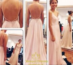 vampal.co.uk Offers High Quality Pink Spaghetti Strap V Neck Backless Floor…