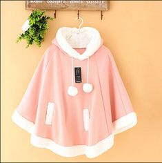 New Lolita cute bat hooded sweater shawl cape coat $35.70 Fabric Material: Cotton  Color: pink, blue, gray, red