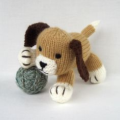 animal toy knitting patterns: muffin the puppy - click on image to download