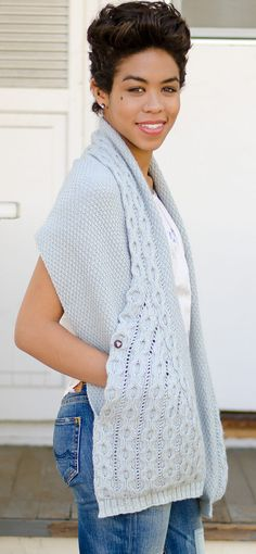 Knitting Pattern for Hugs and Cables Wrap - #ad love the way the cable collar flows down to become pockets. This luxurious piece contains generous built-in pockets and a collar, knit in moss stitch and cables with DK yarn in one seamless piece. I think this would be perfect for my mom.