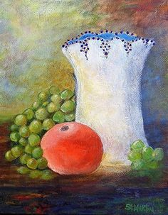 """Orange Grapes And More by Annie St Martin Acrylic ~ 10"""" x 8"""""""