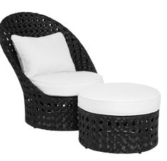 Portofino Outdoor High-Back Chair with Round Ottoman, $799.00 #Black #White #ZGallerie