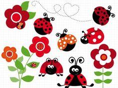 Ladybug Garden Red Clip Art / Digital Clipart by MyClipArtStore Ladybug Garden, Baby Ladybug, Pink Ladybug, Coloring Pages, Decoupage, Stencils, Doodles, Clip Art, Scrapbook