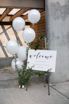 Wedding welcome sign. Simple and elegant with a touch of whimsy with the white balloons. Wedding welcome sign. Simple and elegant with a touch of whimsy with the white balloons. Wedding Welcome Signs, Wedding Signs, Wedding Venues, Wedding Ceremony, Bridal Shower Welcome Sign, Ceremony Signs, Wedding Destinations, Bridal Shower Signage, Welcome Baby Party