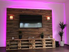 Tv wall made of palletspallets Palette Tv, Design Palette, Tv Wall Decor, Wall Decor Design, Pallet Tv Stands, Wood Interior Design, Minimal Living, Gaming Room Setup, Bathroom Design Luxury