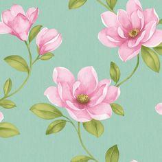 magnolia flower | Sophie Conran Magnolia Flower Wallpaper Aqua 10m