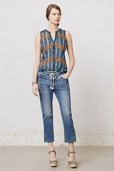 love this top and cropped drawstring jeans from #anthropologie