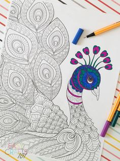 Free Peacock Adult Coloring Page Peacock Painting, Peacock Art, Butterfly Painting, Fabric Painting, Peacock Outline, Doodle Art Drawing, Cool Art Drawings, Mandala Drawing, Peacock Coloring Pages