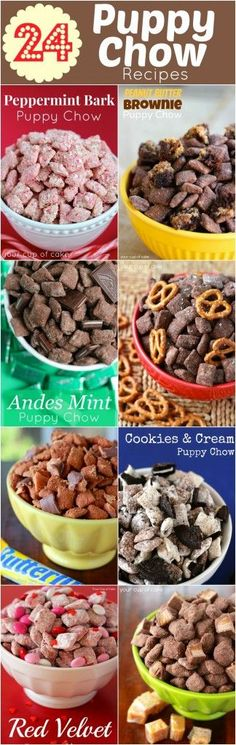 "We should make one of htese fune puppy chow recipes for the party! 24 Puppy Chow Recipes (some people call them ""muddy buddies"") Dessert Dips, Köstliche Desserts, Dessert Recipes, Winter Desserts, Candy Recipes, Plated Desserts, Snack Recipes, Puppy Chow Recipes, Chex Mix Recipes"