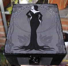 Morticia Addams Jewelry box. Hand painted and decorated jewelry box. Goth illustration. Charles Addams, Addams family member own version.