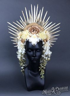 Flower Headdress with Foam Spike Crown by MissGDesignsShop on Etsy