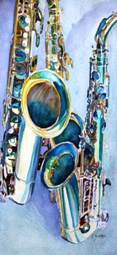 Jazz Instruments Painting - Saxy Trio by Jenny Armitage 1h