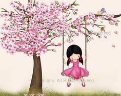 Cherry Blossom Wall Art Print Girls Room Decor Nursery Wall Art Kids Wall Art Girl Swing Art Decor Nursery Decor Girl Art For Kids Art