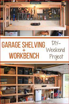 Easy Garage Storage, Diy Storage Shelves, Garage Shelf, Garage House, Shed Storage, Shed Shelving, Tool Storage, Diy Garage Work Bench, Workshop Shelving