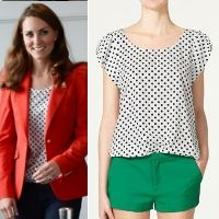 Zara White Polka Dot Blouse aso Duchess Kate Middleton