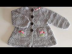 Crochet How to crochet a girls coat / PART 1 Crochet Baby Cardigan Free Pattern, Gilet Crochet, Crochet Baby Sweaters, Baby Sweater Patterns, Crochet Baby Clothes, Crochet Girls, Crochet Baby Hats, Crochet Cardigan, Baby Patterns