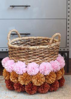 DIY Crafts with Pom Poms - DIY Pom Pom Basket - Fun Yarn Pom Pom Crafts Ideas. Garlands, Rug and Hat Tutorials, Easy Pom Pom Projects for Your Room Decor and Gifts http://diyprojectsforteens.com/diy-crafts-pom-poms