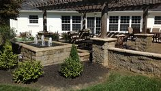 pergola, patio table and chairs, square concrete water feature, artisian water featire, Back Yards, Patio, Ponds /Accents / Elements