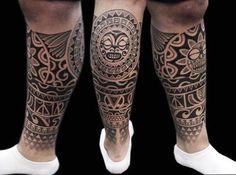 Fantastic Polynesian Tattoos On Leg photo - 1