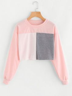 Women fashion elegant Patchwork Coat 2017 Casual Autumn winter Outfit Long Sleeve O-Neck Pullover Top Pink XL Sweatshirts Women fashion elegant Patchwork Coat 2017 Casual Autumn winter Outfit Long Sleeve O-Neck Pullover Top Pink XL Girls Fashion Clothes, Fashion Outfits, Fast Fashion, Stylish Outfits, Cool Outfits, Crop Top Outfits, Coats For Women, Winter Outfits, Tops