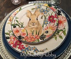 NIB-Pottery-Barn-SET-8-FLORAL-BUNNY-Salad-PLATES-EASTER-RABBIT-Flora-2016