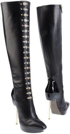 Black High Heeled Boots - Lyst