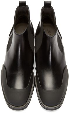 Robert Clergerie Black Rubber & Leather Give Chelsea Boots