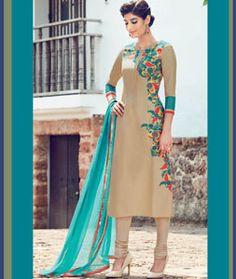 Online wedding, Churidar cotton asian prom long suits, Beige embroidered costume now in shop. Andaaz Fashion brings latest designer ethnic wear collection in UK Designer Salwar Kameez, Salwar Designs, Pakistani Outfits, Indian Outfits, Mode Bollywood, Party Kleidung, Punjabi Dress, Churidar Suits, Anarkali Churidar