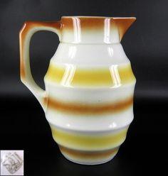 Art Deco Keramik Kanne / Kakaokanne Spritzdekor 20er 30er Jahre Pottery Jug