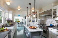 Luxe Family Home | Santa Monica - traditional - Kitchen - Los Angeles - Lewin Wertheimer.  I like the whites and grays, and the subway tile backsplash