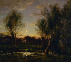 """fryemuseum: """" Francois Cachoud (French, 1866-1943) Moonlight Scene, 1914 Oil on linen 31 ¾ x 36 ¼ in. Charles and Emma Frye Collection, 1952.018 """""""