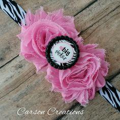 Zebra print big sister headband, Sister bow, Big sister hair bow, Pink shabby flower headband, Big sister bottle cap, Sister headbands by CarsonCreations07 on Etsy