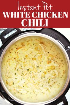 Creamy Instant Pot White Chicken Chili - creamy and hearty soup with chicken white beans and chile peppers You can make it with dried or canned beans InstantPot pressurecooking soup chicken Crock Pot Recipes, Chili Recipes, Quick Soup Recipes, Mexican Recipes, Muffin Recipes, Rice Recipes, Best Instant Pot Recipe, Instant Pot Dinner Recipes, Instant Pot Meals