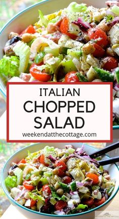Chopped vegetables artichokes hearts of palm olives chick peas salami and m Italian Chopped Salad, Chopped Salad Recipes, Healthy Salad Recipes, Chopped Salads, Vegetable Salad Recipes, Green Salad Recipes, Recipe For Salad, Meat Recipes, Free Recipes