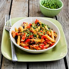 Quick and Easy Penne Pasta with Red Pepper, Garlic, Capers, Olives, Tomatoes, and Tuna. Great pantry meal!