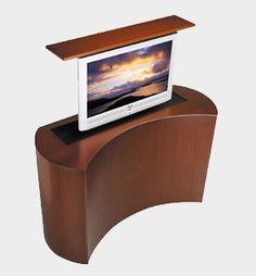 The Coast retractable custom TV stand boasts standout aesthetics and cutting edge TV lift technology. Pop Up Tv Cabinet, Hidden Tv Cabinet, Modern Tv Cabinet, Condo Living, Tiny Living, Living Room Modern, Living Rooms, Tv Cabinets, Custom Cabinets