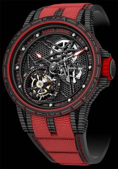 Watches for men - The Watch Quote The Roger Dubuis Excalibur Spider Carbon Skeleton Flying Tourbillon watch Honeycomb dial decor inspired by automobile radiator grilles Amazing Watches, Beautiful Watches, Cool Watches, Unique Watches, Sport Watches, Stylish Watches, Luxury Watches For Men, Tourbillon Watch, Skeleton Watches
